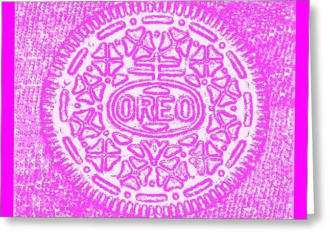 Oreo Greeting Cards - Oreo Hope Negative Fuchsia Greeting Card by Rob Hans