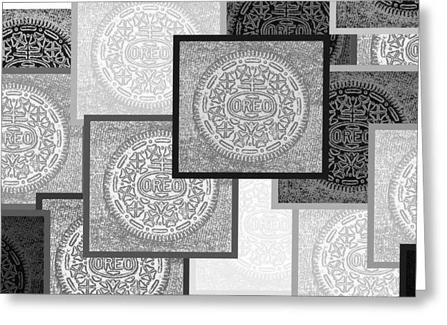 Oreo Greeting Cards - Oreo Negative Hope Collage 3 Black And White Greeting Card by Rob Hans