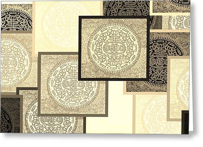 Oreo Greeting Cards - Oreo Negative Hope Collage 3 Sepia Greeting Card by Rob Hans