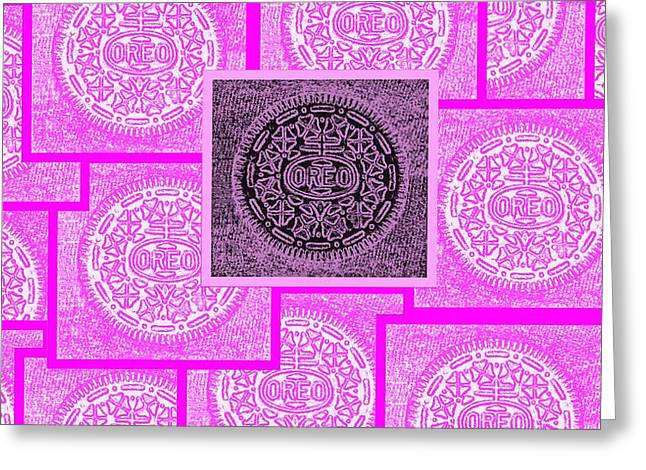 Oreo Greeting Cards - Oreo Pink Squared Greeting Card by Rob Hans