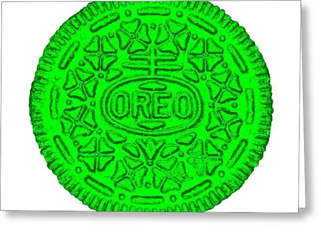 Oreo Greeting Cards - Oreo White Green Greeting Card by Rob Hans