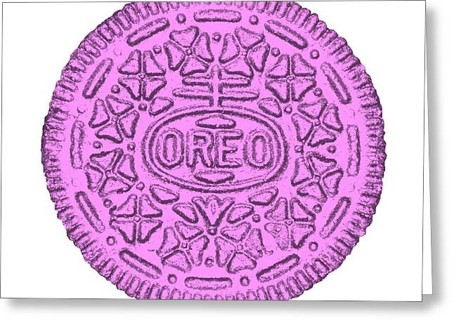 Oreo Greeting Cards - Oreo White Pink Greeting Card by Rob Hans