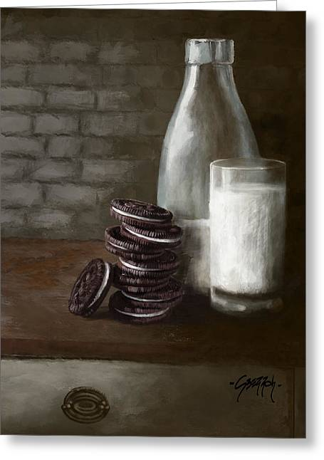 Rembrandt Lighting Greeting Cards - Oreos and Milk Greeting Card by Jenny Berry