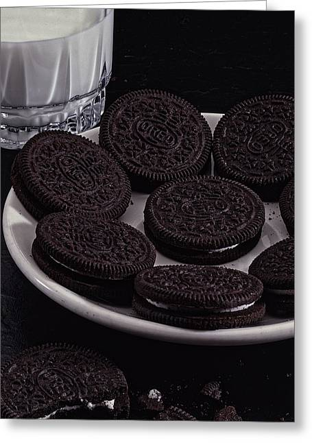 Sandwich Cookie Greeting Cards - Oreos and Milk Greeting Card by Todd and candice Dailey
