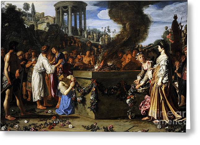 17th Greeting Cards - Orestes And Pylades Disputing At The Altar, 1614, By Pieter Lastman C.1583-1633 Greeting Card by Bridgeman Images