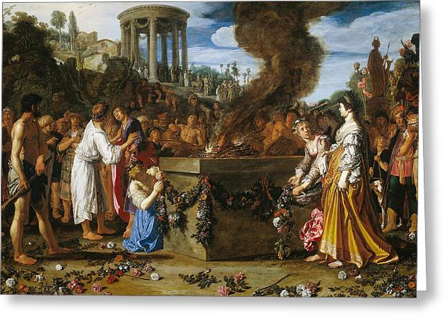 Disputes Greeting Cards - Orestes and Pylades Disputing at the Altar Greeting Card by Pieter Lastman