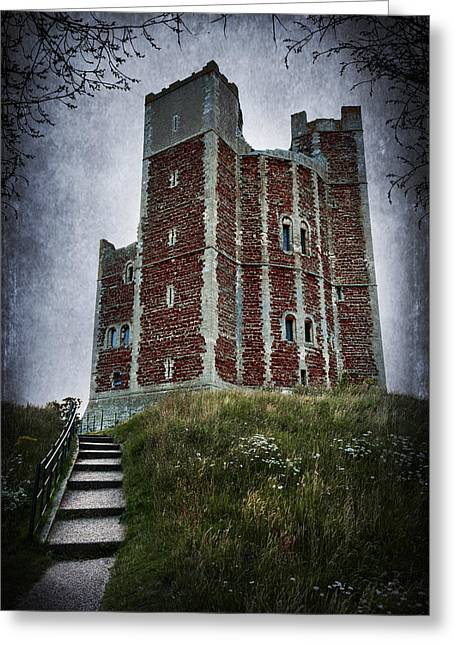 Creepy Digital Art Greeting Cards - Orford Castle Greeting Card by Svetlana Sewell
