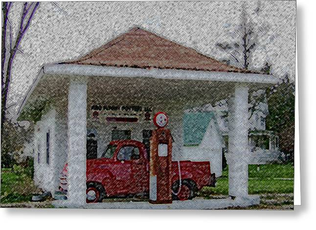 Award Winning Art Mixed Media Greeting Cards - Orfordville Gas Station Greeting Card by Dennis Buckman
