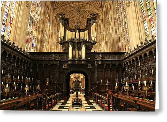 Rood Greeting Cards - Organ and Choir - Kings College Chapel Greeting Card by Stephen Stookey