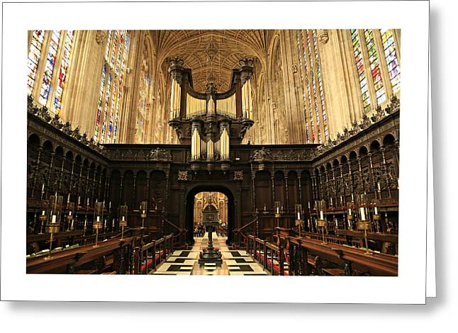 Cambridge Greeting Cards - Organ and Choir - Kings College Chapel Greeting Card by Stephen Stookey