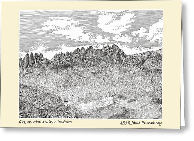 Shadows Cast Greeting Cards - Organ Mountain Shadows Greeting Card by Jack Pumphrey