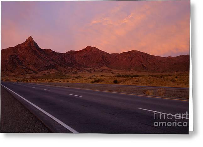 Organ Mountain Sunrise Highway Greeting Card by Mike  Dawson