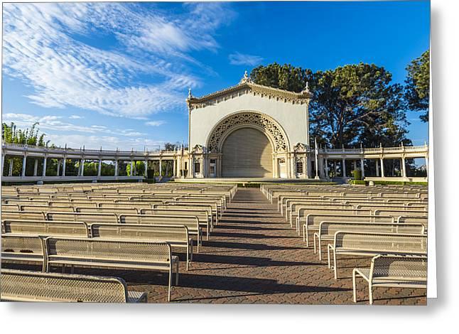Balboa Park Greeting Cards - Organ Pavilion Morning Greeting Card by Joseph S Giacalone