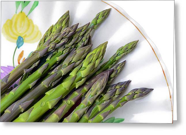 Organic Asparagus Greeting Card by Susan Leggett