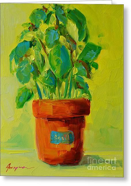 Organic Basil Plant Still Life Greeting Card by Patricia Awapara