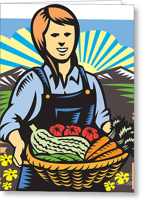 Farmers Field Digital Art Greeting Cards - Organic Farmer Farm Produce Harvest Retro Greeting Card by Aloysius Patrimonio