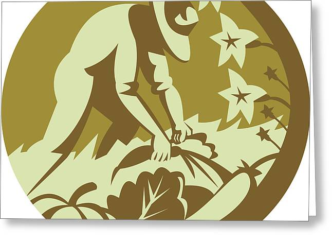 Organic Farmer Harvesting Vegetable Crops Retro Greeting Card by Aloysius Patrimonio