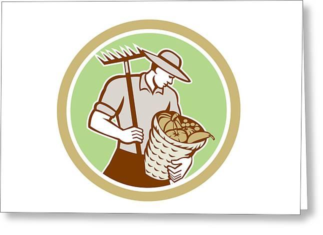 Rake Digital Art Greeting Cards - Organic Farmer Holding Rake Harvest Basket Retro Greeting Card by Aloysius Patrimonio