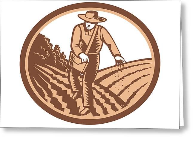 Farmers Field Digital Art Greeting Cards - Organic Farmer Sowing Seed Woodcut Retro Greeting Card by Aloysius Patrimonio