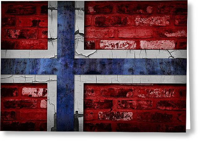 Sweden Digital Art Greeting Cards - Organic Norway Flag Greeting Card by Daniel Hagerman