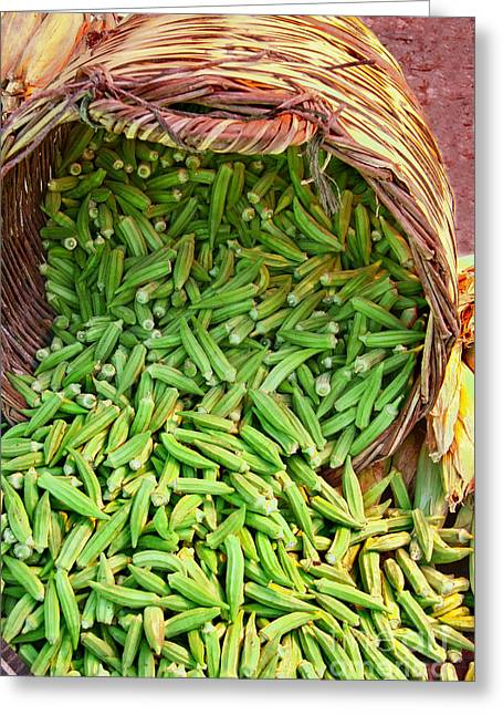 Sticky Fingers Greeting Cards - Organic Okra Spilling From A Basket Greeting Card by Leyla Ismet