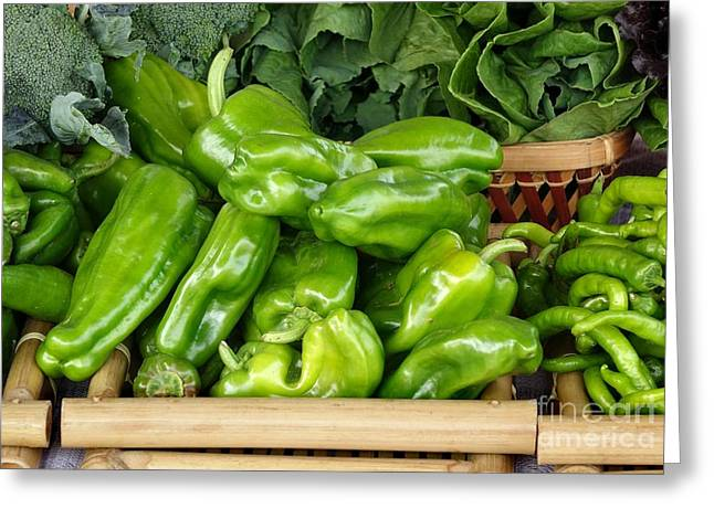 Broccoli Greeting Cards - Organic Peppers and other Vegetables Greeting Card by Yali Shi