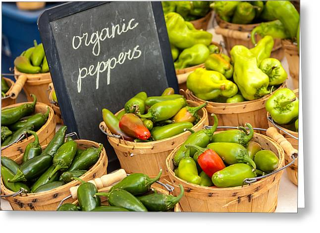 Home Grown Greeting Cards - Organic Peppers at Farmers Market Greeting Card by Teri Virbickis