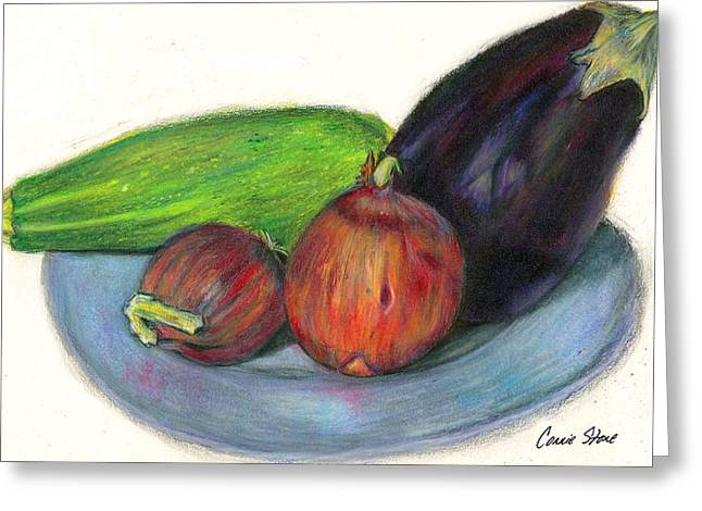 Etc. Drawings Greeting Cards - Organic Veggies Greeting Card by Connie Thomas