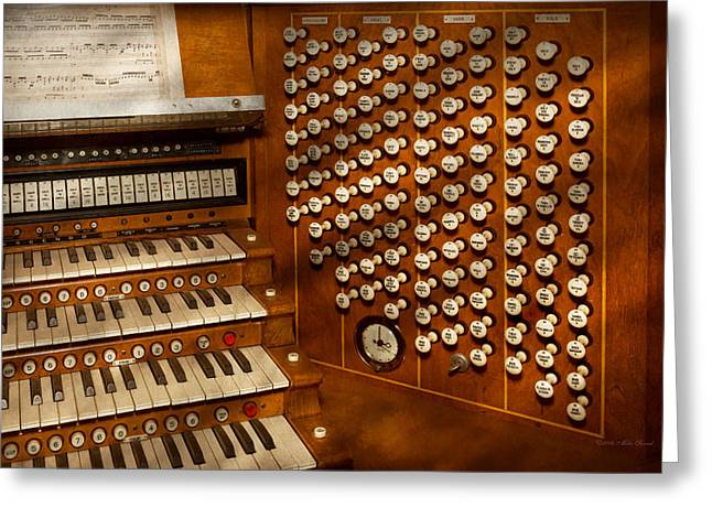 Music Time Greeting Cards - Organist - Ready at the controls Greeting Card by Mike Savad