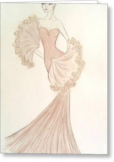 Evening Dress Pastels Greeting Cards - Organza Fan Dress Greeting Card by Christine Corretti