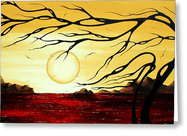 Wall Decor Licensing Greeting Cards - Orginal Ocean Art Abstract Landscape Seascape Painting GOLDEN HARMONY by MADART Greeting Card by Megan Duncanson