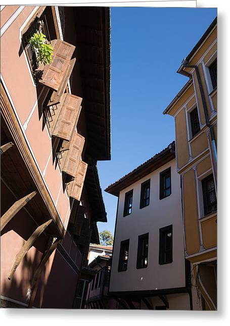 Overhang Greeting Cards - Oriel Windows and Renaissance Facades in Old Town Plovdiv Bulgaria Greeting Card by Georgia Mizuleva
