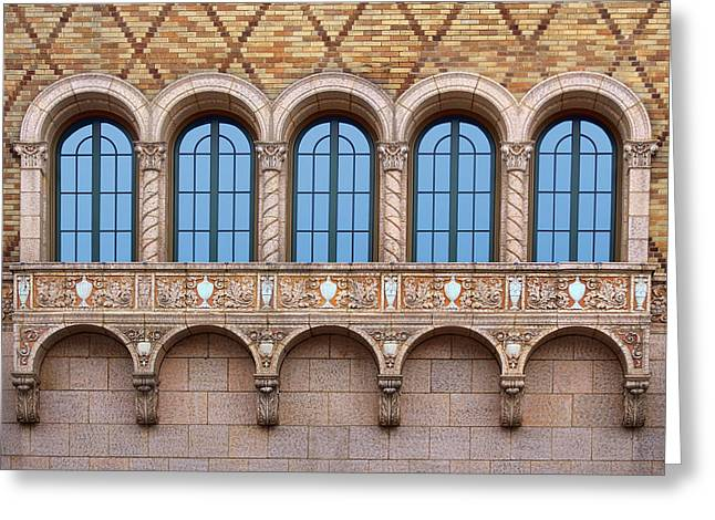 Classical Style Greeting Cards - Oriel Windows - The Rose - Omaha Greeting Card by Nikolyn McDonald