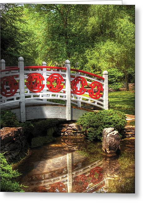 Reflecting Water Greeting Cards - Orient - Bridge - Tranquility Greeting Card by Mike Savad