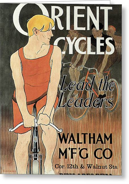 Manufacturing Greeting Cards - Orient Cycles Greeting Card by Edward Penfield