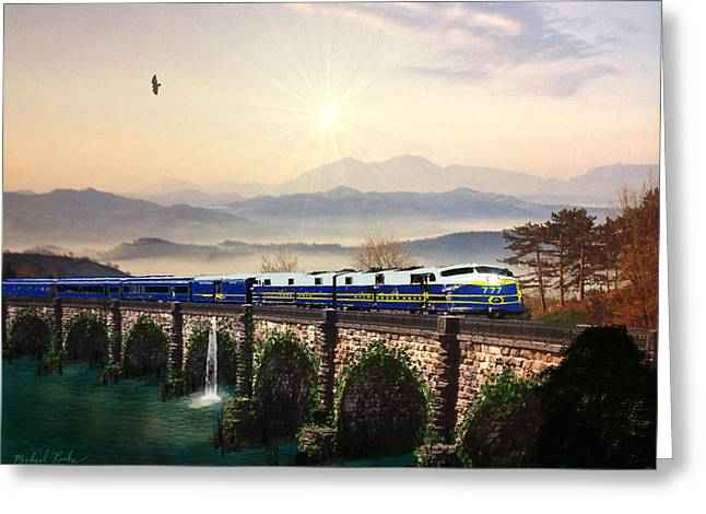 Train On Bridge Greeting Cards - Orient Express Greeting Card by Michael Rucker