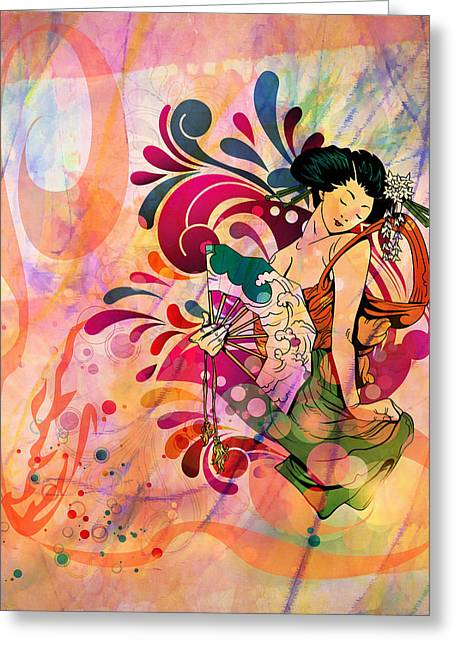 Beauty Greeting Cards - Oriental Beauty Colorful Greeting Card by Georgiana Romanovna