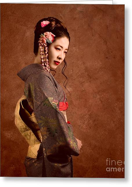 Oriental Beauty Greeting Card by Julian Cook