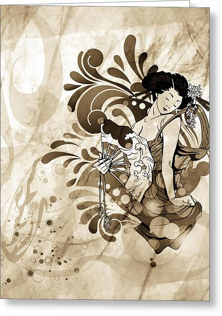 Vintage Greeting Cards - Oriental Beauty Sepia Tone Greeting Card by Georgiana Romanovna