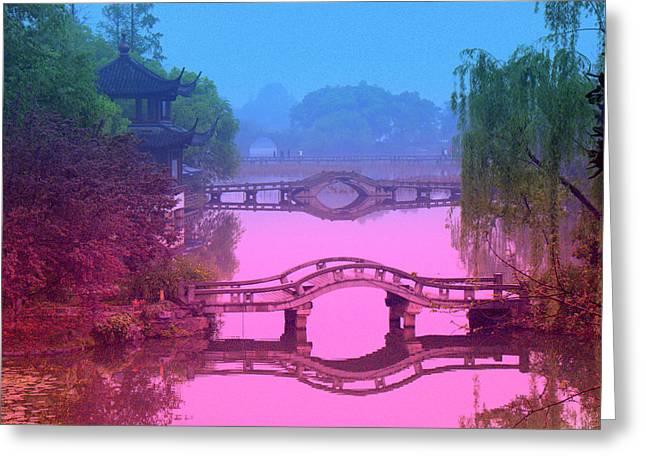 Oriental Bridge Greeting Card by Larry Moloney