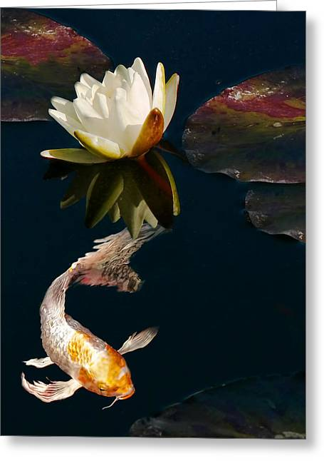 Water Garden Greeting Cards - Oriental Koi Fish and Water Lily Flower Greeting Card by Jennie Marie Schell