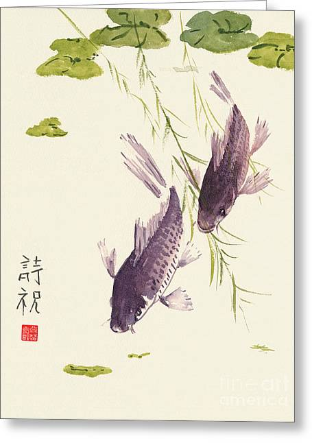 Dark Grey Greeting Cards - Oriental Koi III Greeting Card by Sandy Linden