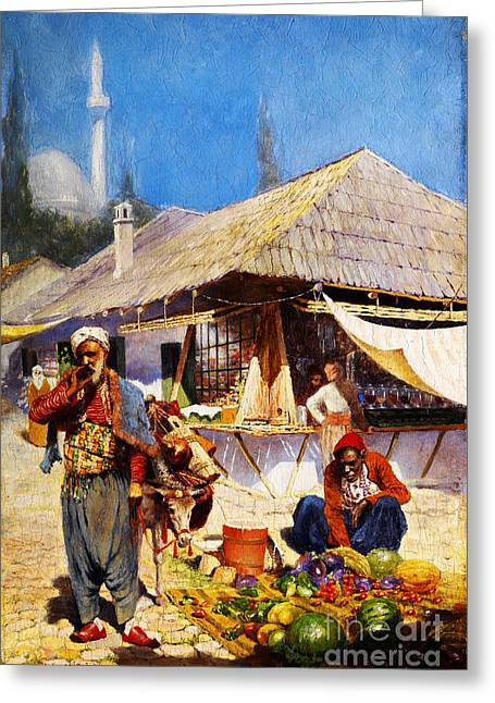 Sahara Sunlight Greeting Cards - Oriental Market scene Greeting Card by Celestial Images