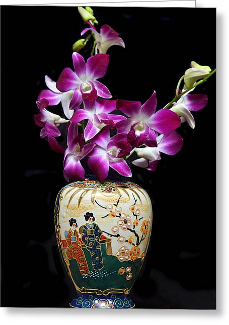 Oriental Orchids. Greeting Card by Terence Davis