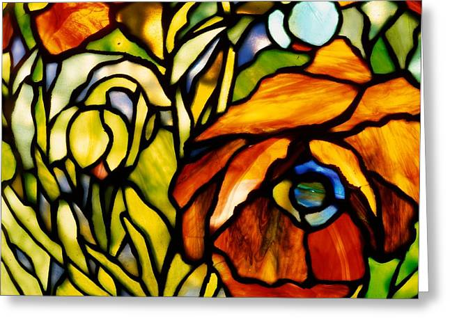 Stained Glass Glass Greeting Cards - Oriental Poppy Greeting Card by Tiffany Studios