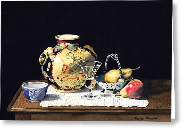 Crystall Greeting Cards - Oriental Pot Crystal And Pears Greeting Card by Gary Curtis