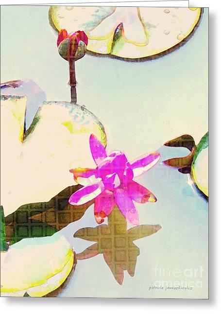 Januszkiewicz Mixed Media Greeting Cards - Oriental Sunrise Greeting Card by Patricia Januszkiewicz