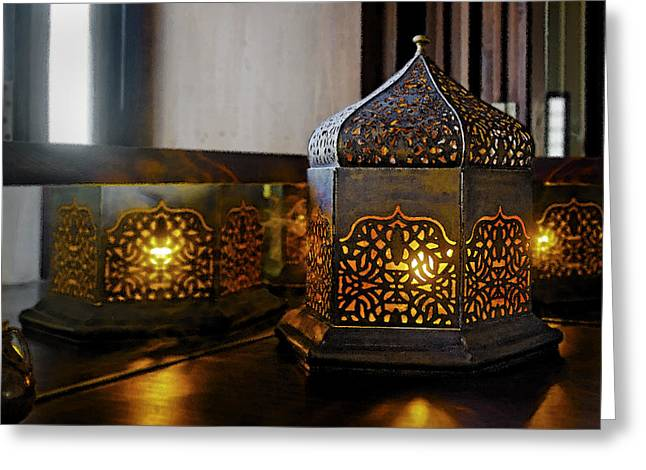 Subtle Colors Greeting Cards - Oriental table lamp corner table Greeting Card by Kantilal Patel