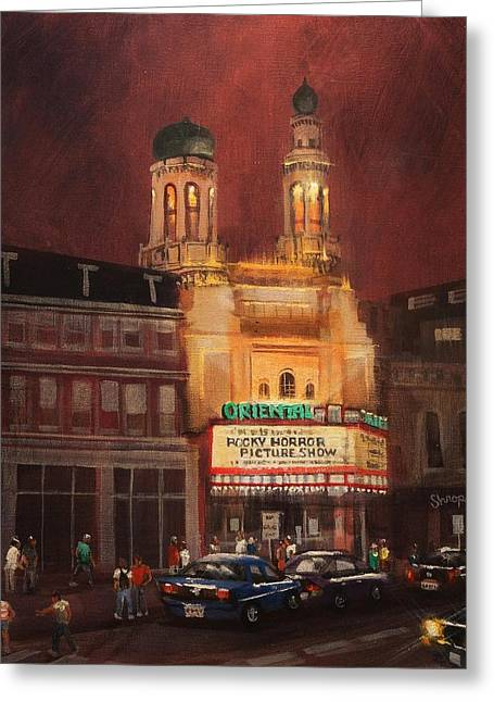 City At Night Greeting Cards - Oriental Theater Milwaukee Greeting Card by Tom Shropshire