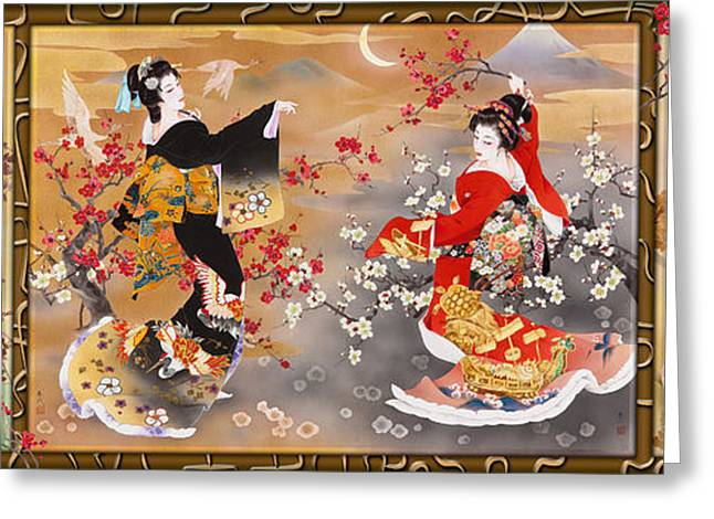 Art Print Digital Art Greeting Cards - Oriental Triptych Greeting Card by Haruyo Morita